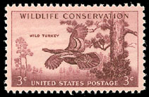 1956 US 3 Cent Wildlife Conservation Wild Turkey Postage Stamp