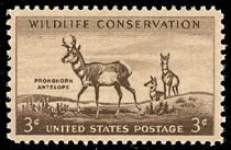 1956 US 3 Cent Wildlife Conservation Pronghorn Antelope Postage Stamp
