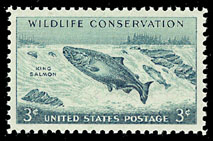 1956 US 3 Cent Wildlife Conservation Pacific Salmon Postage Stamp
