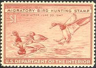 1946-47 Federal Duck Stamp - 1 Dollar Redheads by Artist Bob Hines